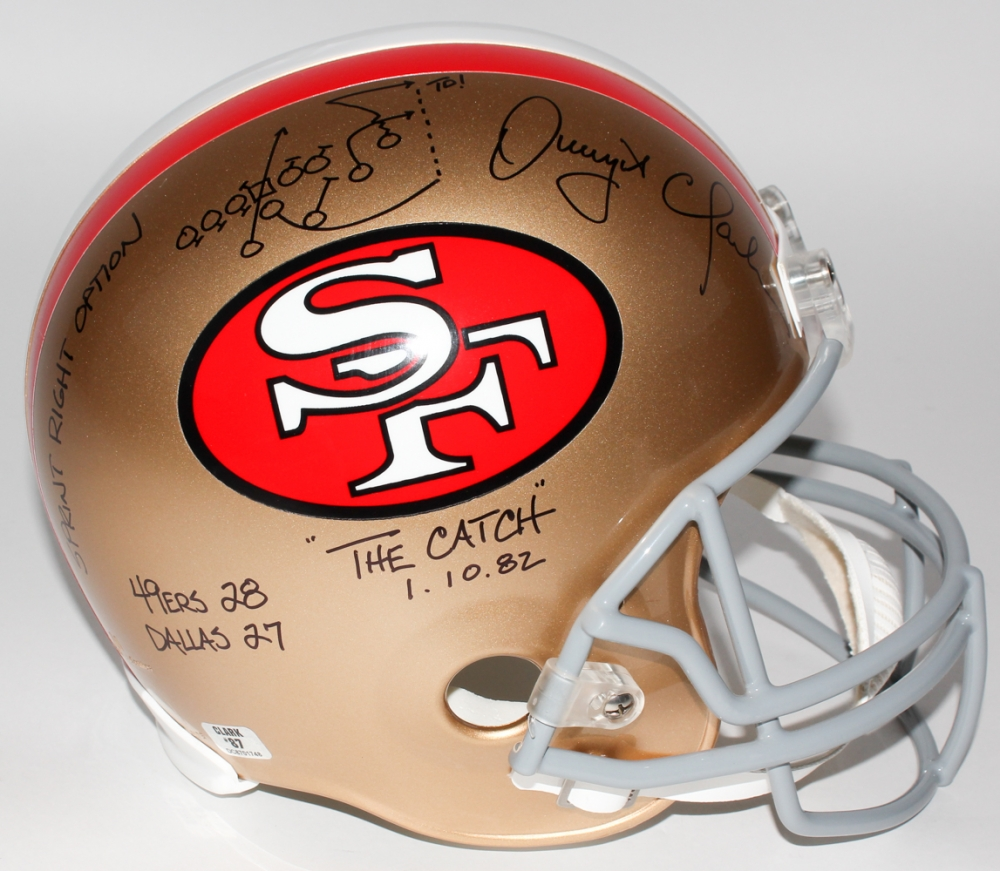 ... October Dwight Clark Signed 49ers Full-Size Helmet with Hand-Drawn ...