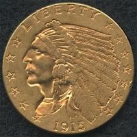 "1915 Quarter Eagle ""Indian Head"" $2 1/2 Gold Piece"
