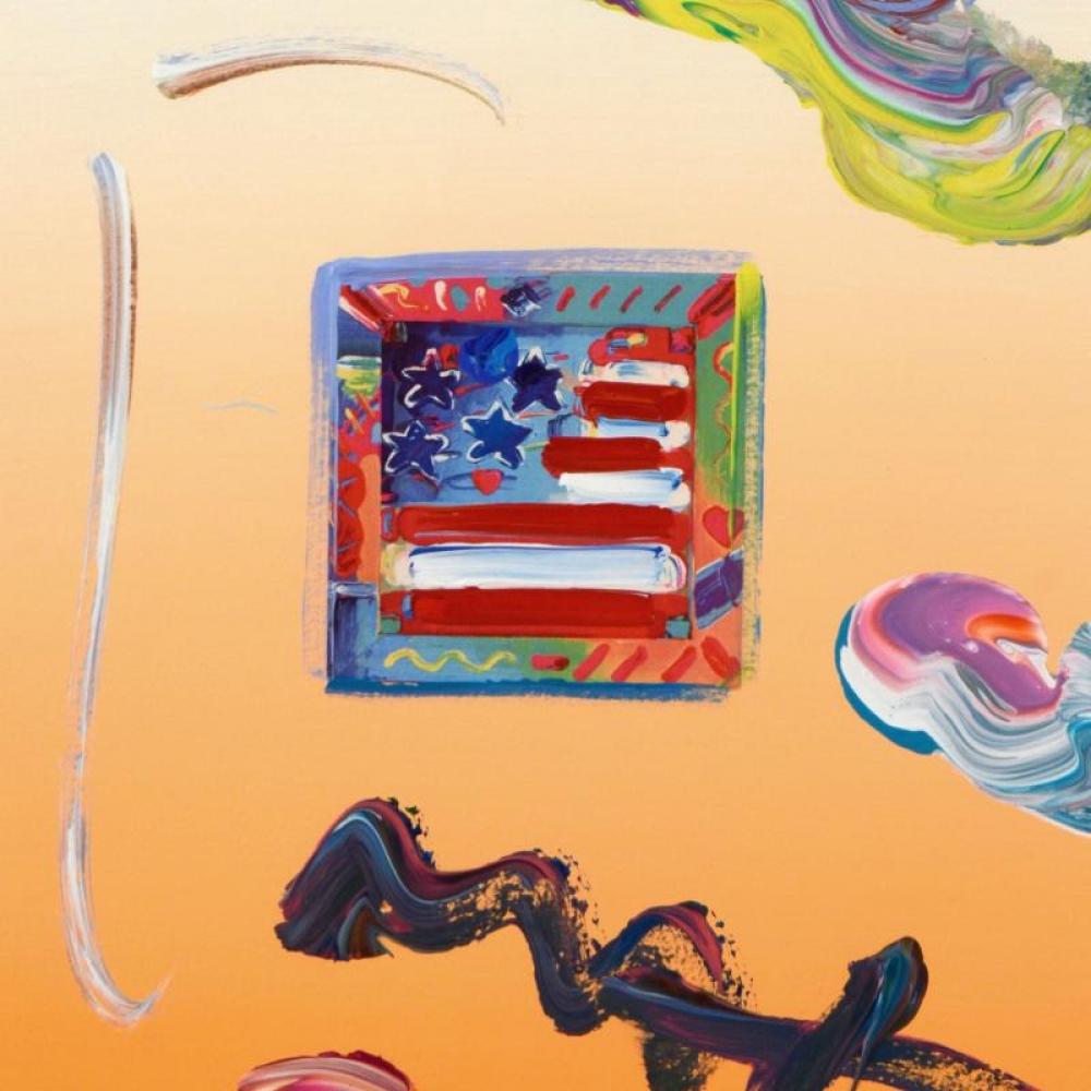 peter max american flag signed 85 x 11 original acrylic mixed media
