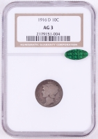 1916-D Mercury Silver Dime (NGC AG-3)