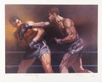 Max Schmeling & Joe Louis Signed LE 18x24 Boxing Lithograph (JSA LOA)