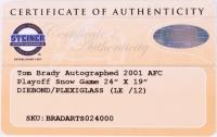 "Tom Brady Signed LE Patriots ""2001 AFC Playoff"" 16x23 Glass Shadowbox (Steiner COA & TriStar Hologram) at PristineAuction.com"