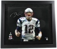 "Tom Brady Signed Patriots LE ""Super Bowl 49 Touch Down Scream"" 27x31 Custom Framed Photo (Steiner COA & Tristar Hologram)"