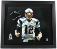 "Tom Brady Signed Patriots LE ""Super Bowl 49 Touch Down Scream"" 27x31 Custom Framed Photo Inscribed ""SB 49 MVP"" (Steiner COA & Tristar Hologram)"