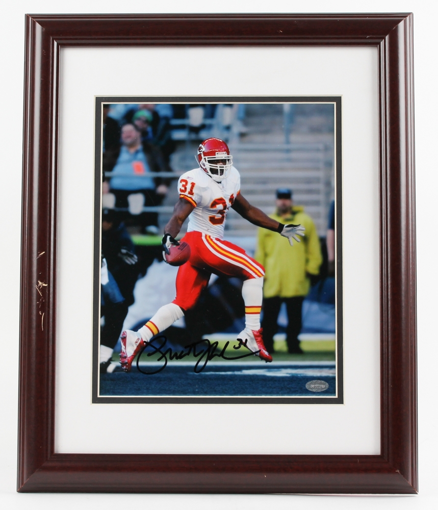 Priest Holmes Signed Chiefs 13x16 Custom Framed Photo ...  Mounted