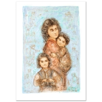 """Edna Hibel Signed """"Catherine and Children"""" Limited Edition 25x35 Lithograph at PristineAuction.com"""
