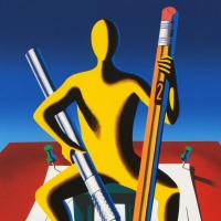 """Mark Kostabi Signed """"Careful With That Ax, Eugene"""" Limited Edition 27x35 Serigraph at PristineAuction.com"""
