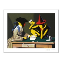 """Mark Kostabi Signed """"Chance Encounter"""" Limited Edition 27x35 Serigraph at PristineAuction.com"""