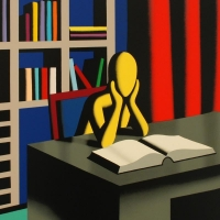 "Mark Kostabi Signed ""Useless Knowledge"" Limited Edition 30x30 Serigraph at PristineAuction.com"