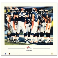 "Daniel M. Smith Signed 1998 ""The Huddle VIII (Broncos)"" Limited Edition 22x20 Lithograph"