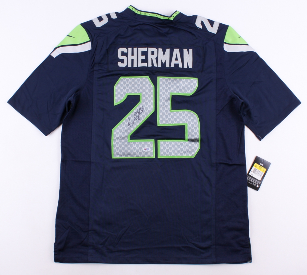 b02d41a05 Richard Sherman Signed Seahawks Jersey with Super Bowl XLIX Patch (PSA COA)  at PristineAuction