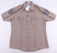 "Erik Estrada & Larry Wilcox Signed Replica Highway Patrol Uniform Shirt Inscribed ""Ponch"" & ""Jon"" (PSA COA)"