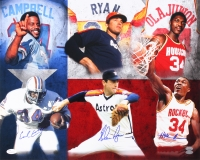 Hall of Famers 16x20 Photo with Nolan Ryan, Earl Campbell & Hakeem Olajuwon (JSA COA, FSC COA, & Nolan Hologram)