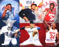 Hall of Famers 16x20 Photo with Nolan Ryan, Earl Campbell & Hakeem Olajuwon (JSA COA, FSC COA, & Nolan Hologram) at PristineAuction.com