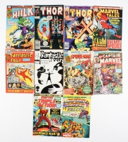 Lot of (10) Vintage Marvel Comic Books with Spider-Man, Captain Marvel, The Hulk, Thor, The Fantastic Four