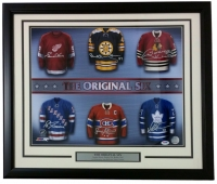 """The Original Six "" 22x27 Custom Framed Photo Signed by (6) with Gordie Howe, Bobby Hull, Bobby Orr, Ed Giacomin, Jean Beliveau & Darry Sittler (PSA LOA)"