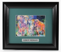 "LeRoy Neiman Signed ""Elephants"" 11x13 Custom Framed Print Display (PSA COA)"