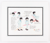 "Ron Campbell Signed Original ""The Saturday Morning Beatles"" George Harrison Character Model Sheet Drawing with Animator Notes (Custom Matted)"