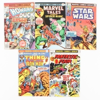 Lot of (5) Vintage Marvel Comic Books with 1975 Marvel 2-In-One Thing #12, 1976 Howard the Duck #6, 1976 Marvel Tales #66, 1977 Fantastic Four #183, 1979 Star Wars #25
