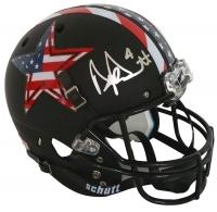 """Dak Prescott Signed Cowboys Custom """"Stars & Stripes"""" Matte Black Full Size Helmet (JSA COA)"""