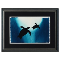 "Wyland ""Turtle and Baby"" Signed Original 23"" x 15""  Watercolor on Deckle-Edge Paper (Custom Framed to 34"" x 26"")"