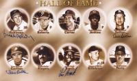 Baseball Hall of Fame 12x20 Photo Signed by Brooks Robinson, Steve Carlton, Louis Brock, & Don Sutton (Major League Baseball Players Alumni Association LOA)