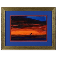 "Wyland ""Sunset with Whale Tail"" Signed Original 23"" x 15""  Watercolor on Deckle-Edge Paper (Custom Framed to 34.5"" x 27.5"")"