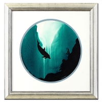 "Wyland ""Dolphin"" Signed Original Watercolor on 19"" Round Deckle-Edge Paper (Custom Framed to 31"" x 31"")"