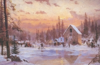 "Thomas Kinkade ""The Ice Harvest"" 6x9 Lithograph"