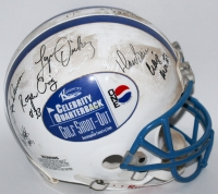 NFL Stars & Hall of Famers Celebrity Quarterback Golf Shoot-Out Authentic Pro-Line Full-Size Helmet with (14) Signatures Including Johnny Unitas, Len Dawson, Roger Craig, Jim Hart (JSA LOA)