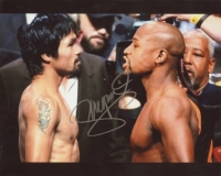 Manny Pacquiao Signed 8x10 Photo with Floyd Mayweather (Pacquiao COA)