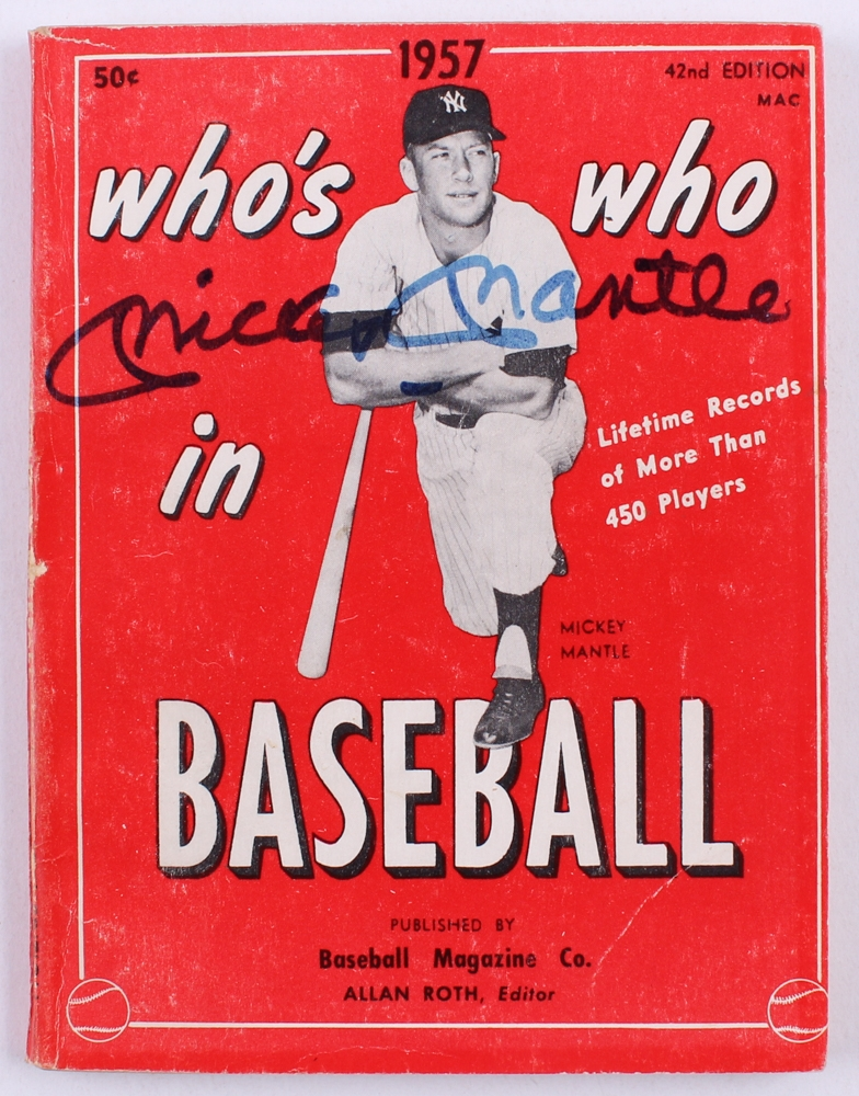 Mickey Mantle Signed 1957 Whos Who In Baseball Softcover Book JSA LOA