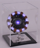 "Stan Lee Signed ""Iron Man"" Light Up Arc Reactor Movie Replica Prop with Display Case (Radtke COA & Stan Lee Hologram)"
