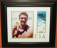 Ryan Lochte Signed Team USA 19x21 Custom Framed Photo Display (Music Row LOA)