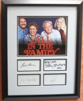 """Carroll O'Connor, Jean Stapleton, Sally Struthers & Rob Reiner Signed """"All In The Family"""" 16x20 Custom Framed Photo Display (JSA LOA)"""