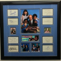 Diff'rent Strokes Cast-Signed 24x25 Custom Framed Cut Display with (8) Signatures Including Dana Plato, Gary Coleman, Todd Bridges, Conrad Bain, Nedra Volz, Mary Jo Catlett, Dixie Carter & Charlotte Rae (JSA LOA)