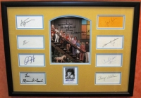 The Brady Bunch Cast-Signed 20x26 Custom Framed Cut Display with (10) Signatures Including Florence Henderson, Ann B. Davis, Barry Williams, Maureen McCormick, Christopher Knight, Eve Plum, Mike Lookinland, Susan Olsen, Sherwood Schwartz & Robert Reed (JS