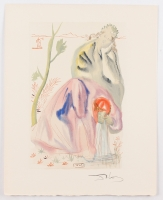 "Salvador Dali Signed 10x13 ""The Age of Gold"" Divine Comedy Woodcut Print (JSA LOA)"