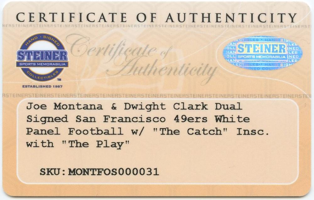 8da35de05d3 Joe Montana   Dwight Clark Signed 49ers Logo Football with Inscription