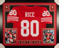 Jerry Rice Signed 49ers 35x43 Custom Framed Jersey (PSA) at PristineAuction.com