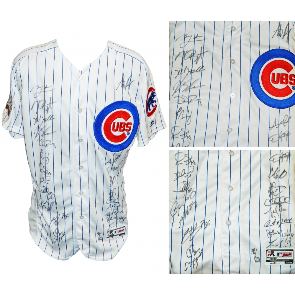d540607aa 2016 Chicago Cubs Team-Signed Chicago Cubs White Pinstripe Majestic  Authentic Jersey with (24) Signatures Including Kris Bryant
