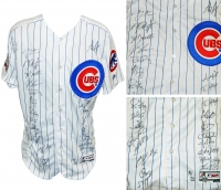 2016 Chicago Cubs Team-Signed Chicago Cubs White Pinstripe Majestic Authentic Jersey with (24) Signatures Including Kris Bryant, Anthony Rizzo, Kyle Hendricks, Aroldis Chapman, Addison Russell, Dexter Fowler (MLB & Fanatics Hologram)