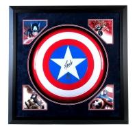 "Stan Lee Signed ""Captain America"" 36"" x 36"" Custom Framed Marvel Full-Size Replica Plastic Shield Display (Stan Lee Hologram)"