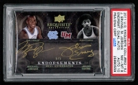 2011-12 Exquisite Collection Endorsements Dual Holo #EE2EJ Julius Erving / Michael Jordan #5/5 (PSA 8)