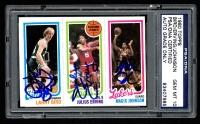 Larry Bird, Julius Erving & Magic Johnson Signed 1980-81 Topps #6 Larry Bird RC / Julius Erving / Magic Johnson RC (PSA Encapsulated)