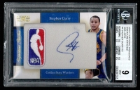 2010-11 Playoff National Treasures Signature Patches NBA Logo #1 Stephen Curry 8/10 (BGS 9)