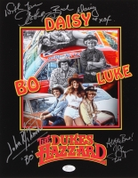 "Catherine Bach, Tom Wopat & John Schneider Signed ""The Dukes of Hazzard"" 11x14 Photo With (5) Inscriptions (JSA COA)"