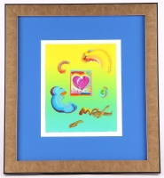 "Peter Max ""Heart Series"" Signed 8.5"" x 11"" Original Acrylic Mixed Media Painting 1/1 (Custom Framed to 19"" x 21"") (Max LOA)"