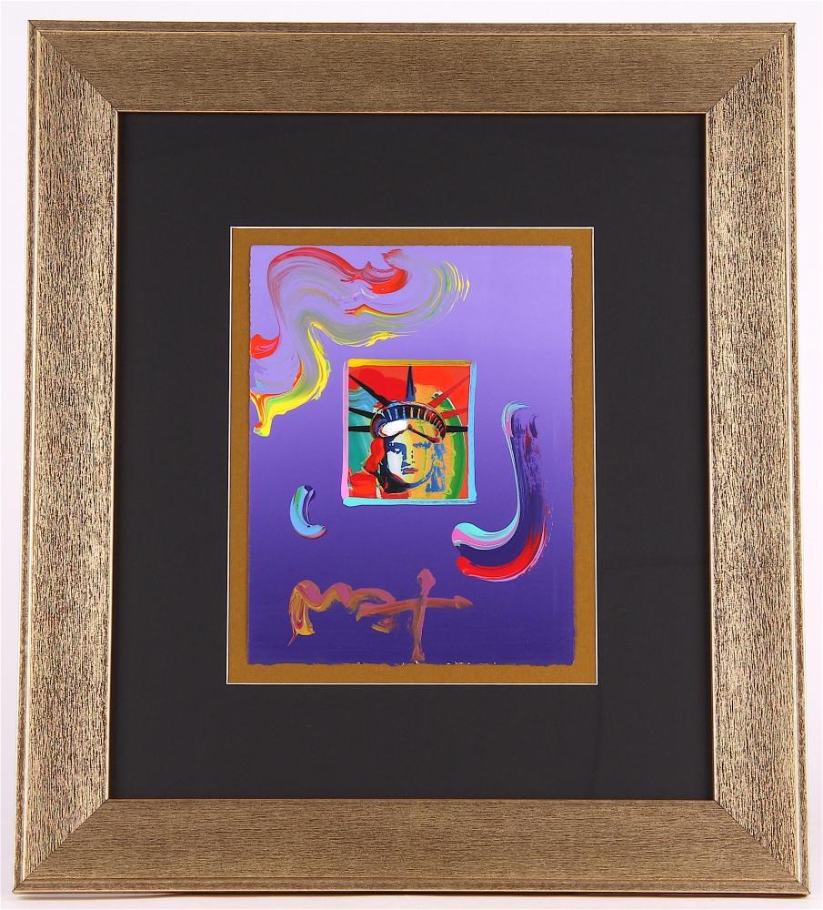 peter max liberty head signed 85 x 11 original acrylic mixed media