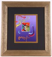 "Peter Max ""Liberty Head"" Signed 8.5"" x 11"" Original Acrylic Mixed Media Painting 1/1 (Custom Framed to 20"" x 23"") (Max LOA)"